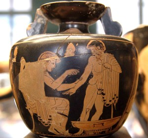 An ancient Greek patient gets medical treatment: this aryballos (circa 480–470 BCE, now in Paris's Louvre Museum) probably contained healing oil.